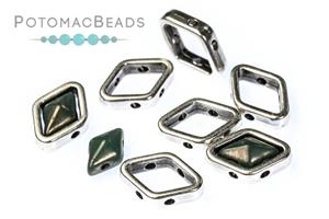 Czech Glass / 2-Hole Beads / Halo Bead for Diamond Shapes