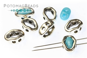 Jewelry Making Supplies & Beads / Metal Beads & Beads Findings / Potomax Metal Multi-Hole Beads / Halo Beads for SuperDuo