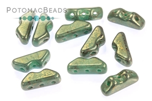 Czech Pressed Glass Beads / 3 Hole Beads / Volcano Bead