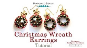 How to Bead Jewelry / Videos Sorted by Beads / RounTrio® & RounTrio® Faceted Bead Videos / Christmas Wreath Earrings Tutorial