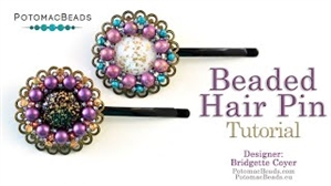How to Bead Jewelry / Videos Sorted by Beads / Cabochon Videos / Beaded Hair Pin Tutorial