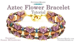 How to Bead Jewelry / Videos Sorted by Beads / Diamond Shaped Bead Videos / Aztec Flower Bracelet Tutorial