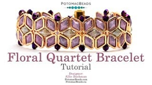 How to Bead / Videos Sorted by Beads / Diamond Shaped Bead Videos / Floral Quartet Bracelet Tutorial