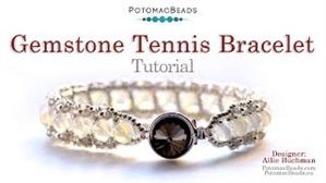 How to Bead Jewelry / Videos Sorted by Beads / Potomax Metal Bead Videos / Gemstone Tennis Bracelet Tutorial