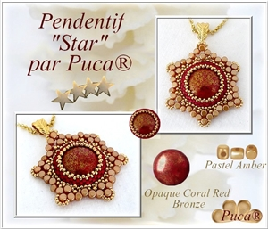 How to Bead / Free Patterns / Star Pendant or Ring Pattern by Puca
