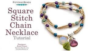 How to Bead / Free Video Tutorials / Necklace Projects / Square Stitch Chain Necklace Tutorial