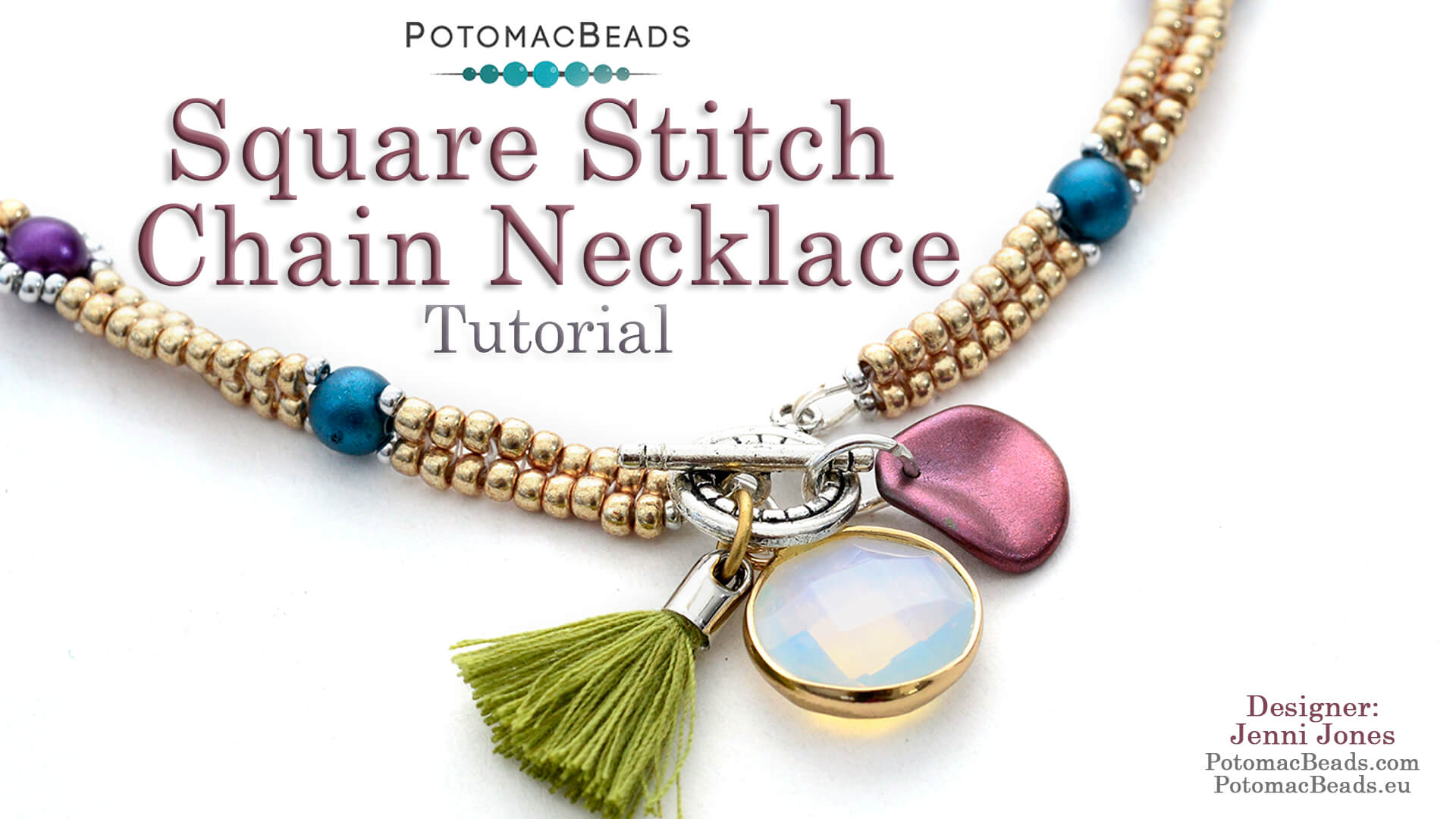 How to Bead / Videos Sorted by Beads / Gemstone Videos / Square Stitch Chain Necklace Tutorial