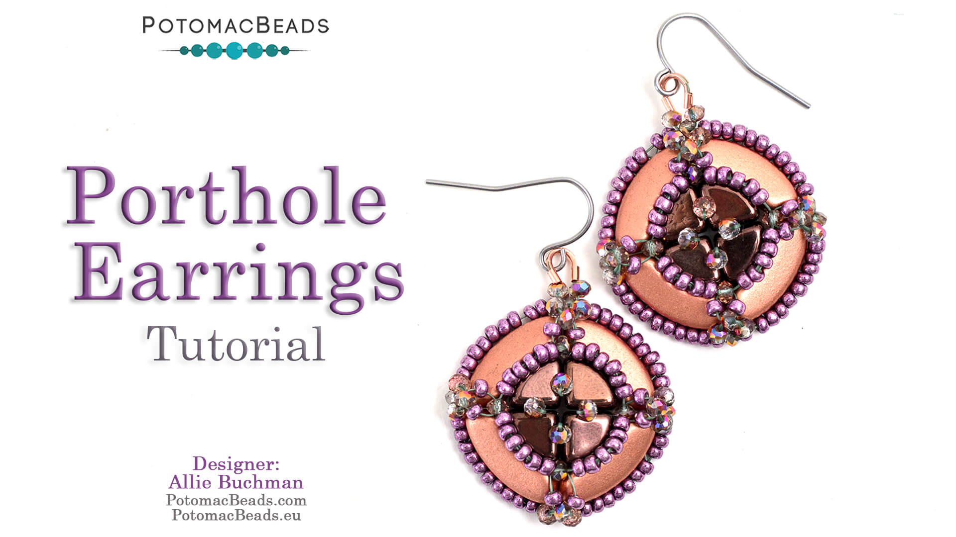 How to Bead Jewelry / Videos Sorted by Beads / QuadBow & PieDuo Bead Videos / Porthole Earrings Tutorial