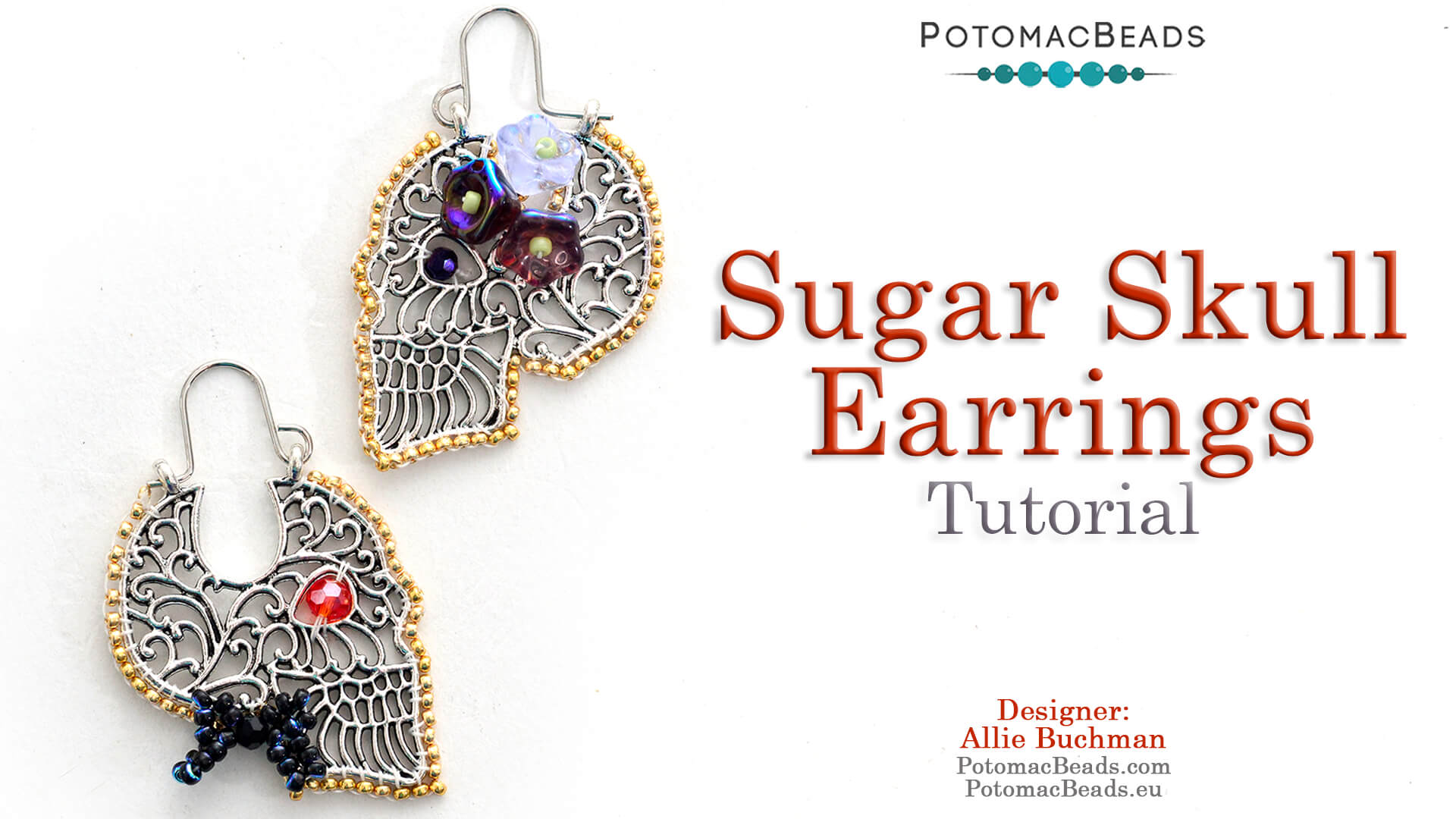 How to Bead / Free Video Tutorials / Holiday Themed Projects / Sugar Skull Earrings Tutorial