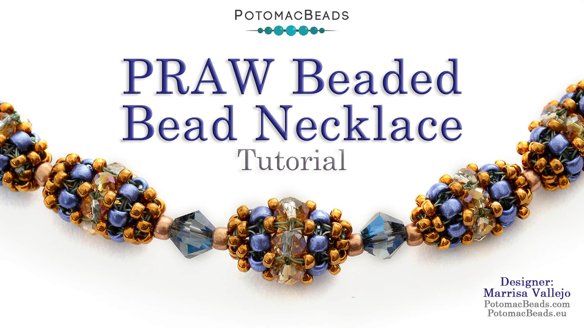 How to Bead / Free Video Tutorials / Beaded Beads / PRAW Beaded Bead Necklace Tutorial
