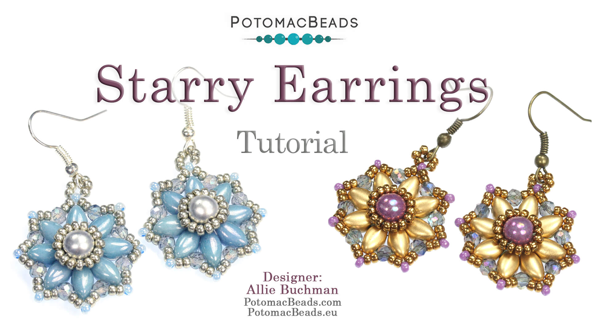 How to Bead Jewelry / Videos Sorted by Beads / Potomac Crystal Videos / Starry Earrings Tutorial