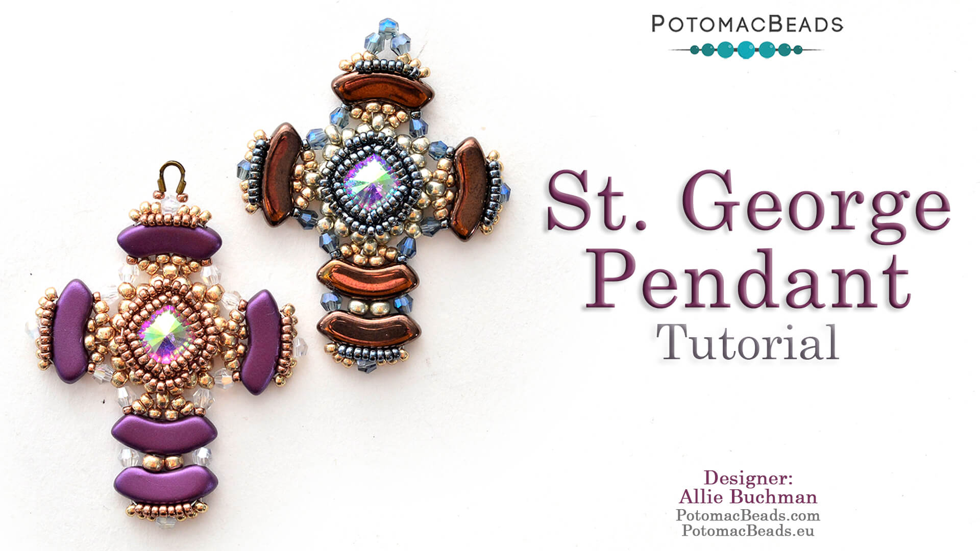 How to Bead / Videos Sorted by Beads / QuadBow & PieDuo Bead Videos / St. George Pendant Tutorial
