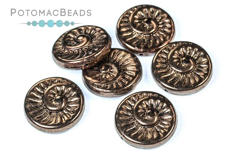 Czech Pressed Glass Beads / Fossil Shell Beads
