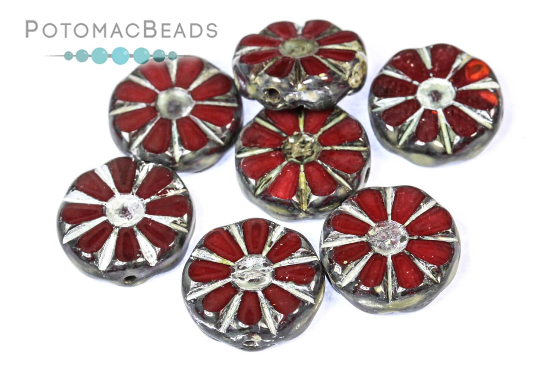 Czech Pressed Glass Beads / Sunflower Beads