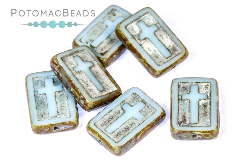 Czech Pressed Glass Beads / Cross Beads