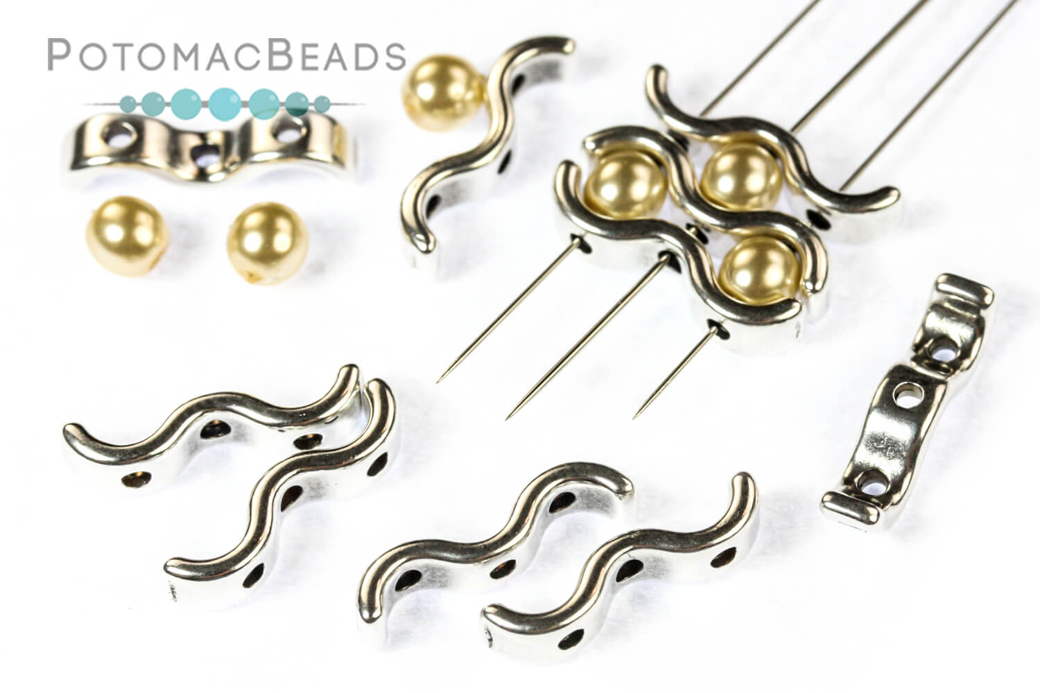 Other Beads & Supplies / Metal Beads & Findings / Potomax Metal Multi-Hole Beads / WaveTrio