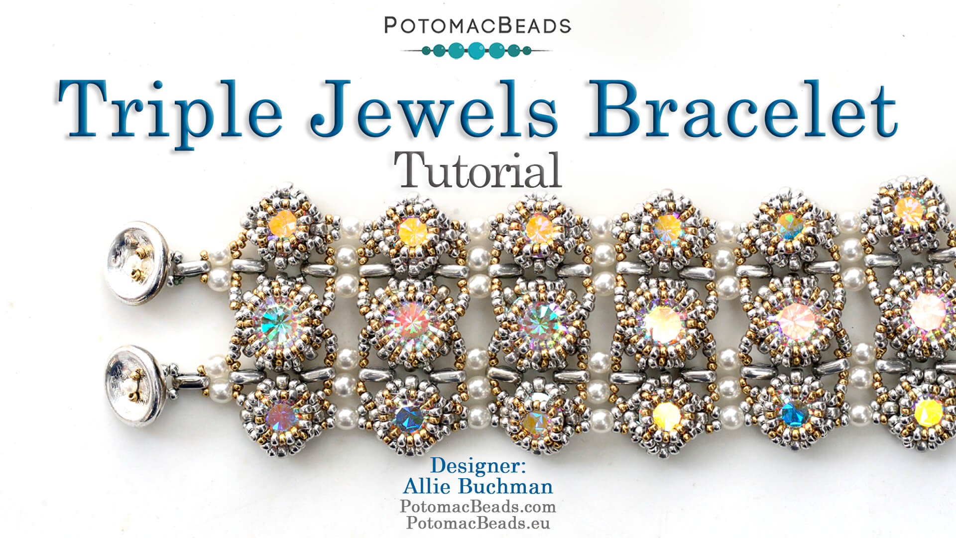 How to Bead Jewelry / Videos Sorted by Beads / Pearl Videos (Czech, Freshwater, Potomac Pearls) / Triple Jewels Bracelet Tutorial