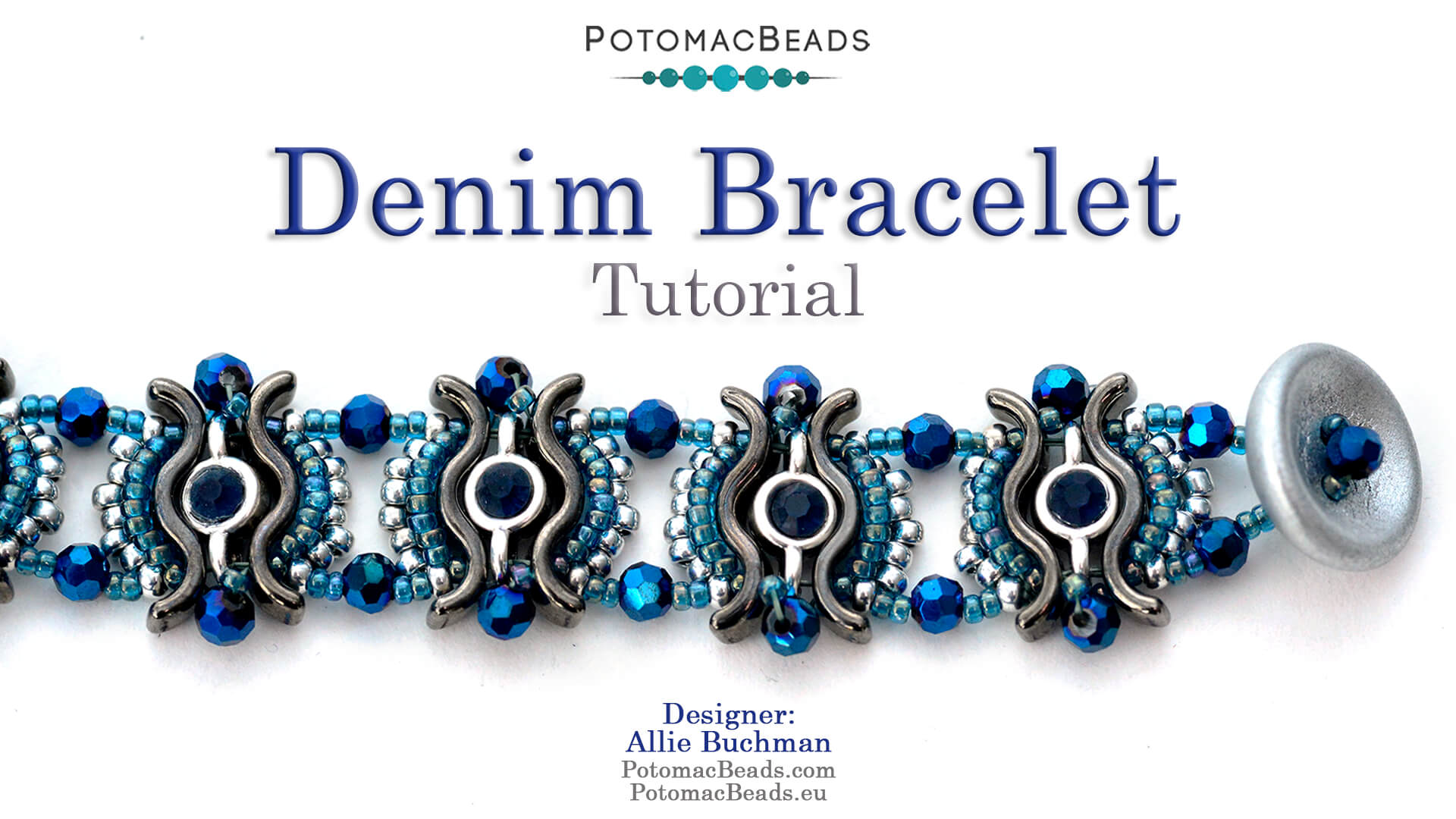 How to Bead Jewelry / Videos Sorted by Beads / Potomac Crystal Videos / Denim Bracelet  Tutorial