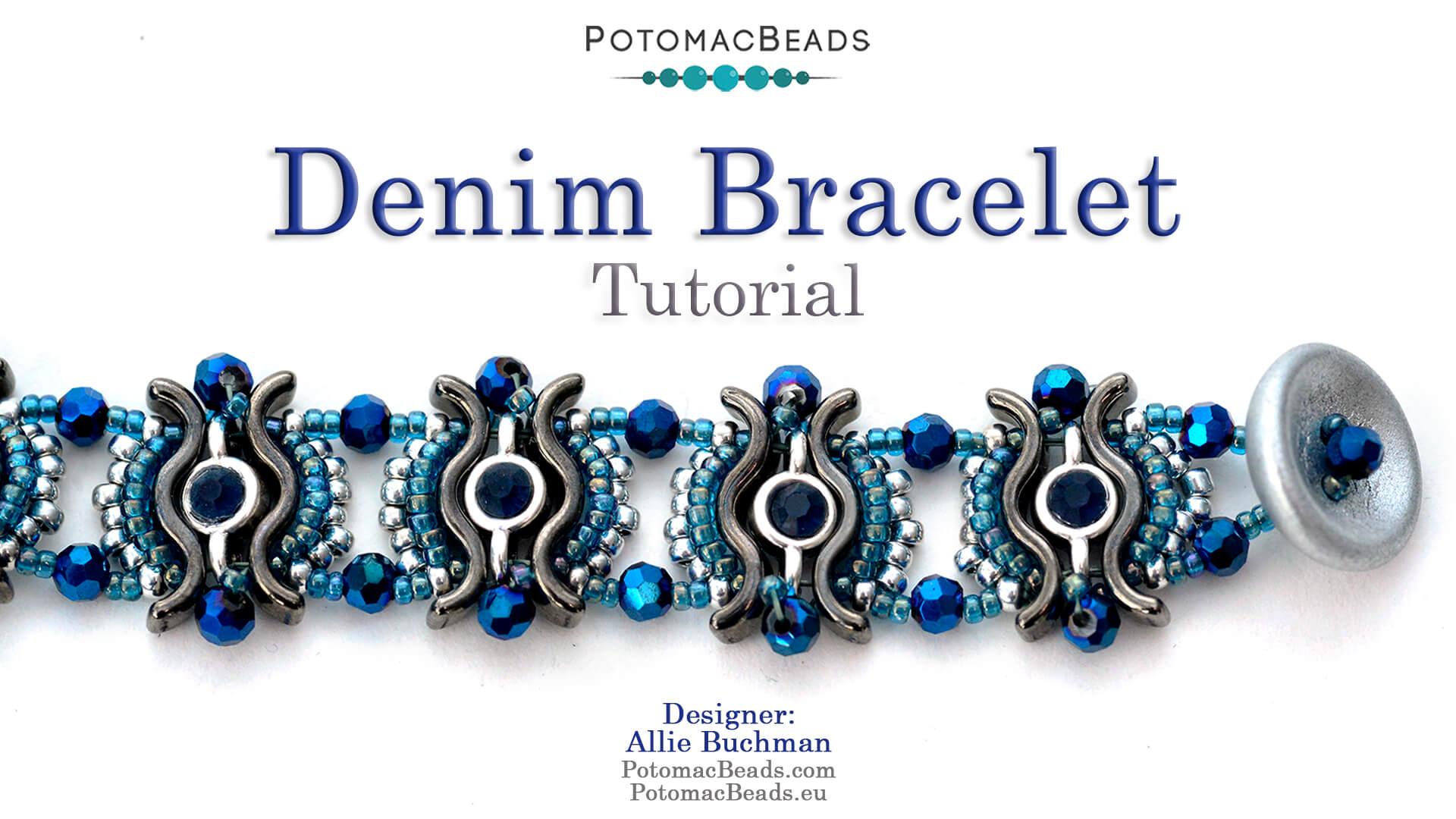 How to Bead Jewelry / Videos Sorted by Beads / Potomax Metal Bead Videos / Denim Bracelet  Tutorial