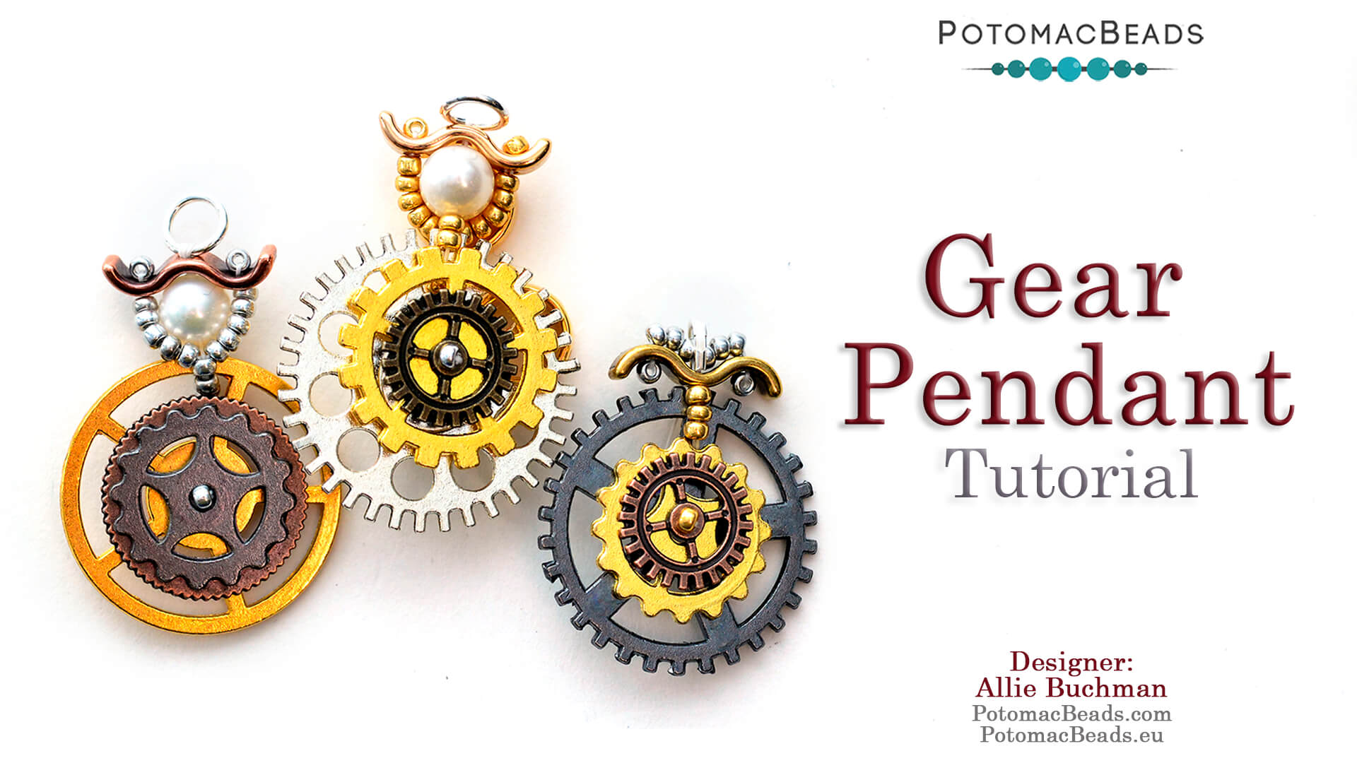 How to Bead Jewelry / Videos Sorted by Beads / Pearl Videos (Czech, Freshwater, Potomac Pearls) / Gear Pendant Tutorial