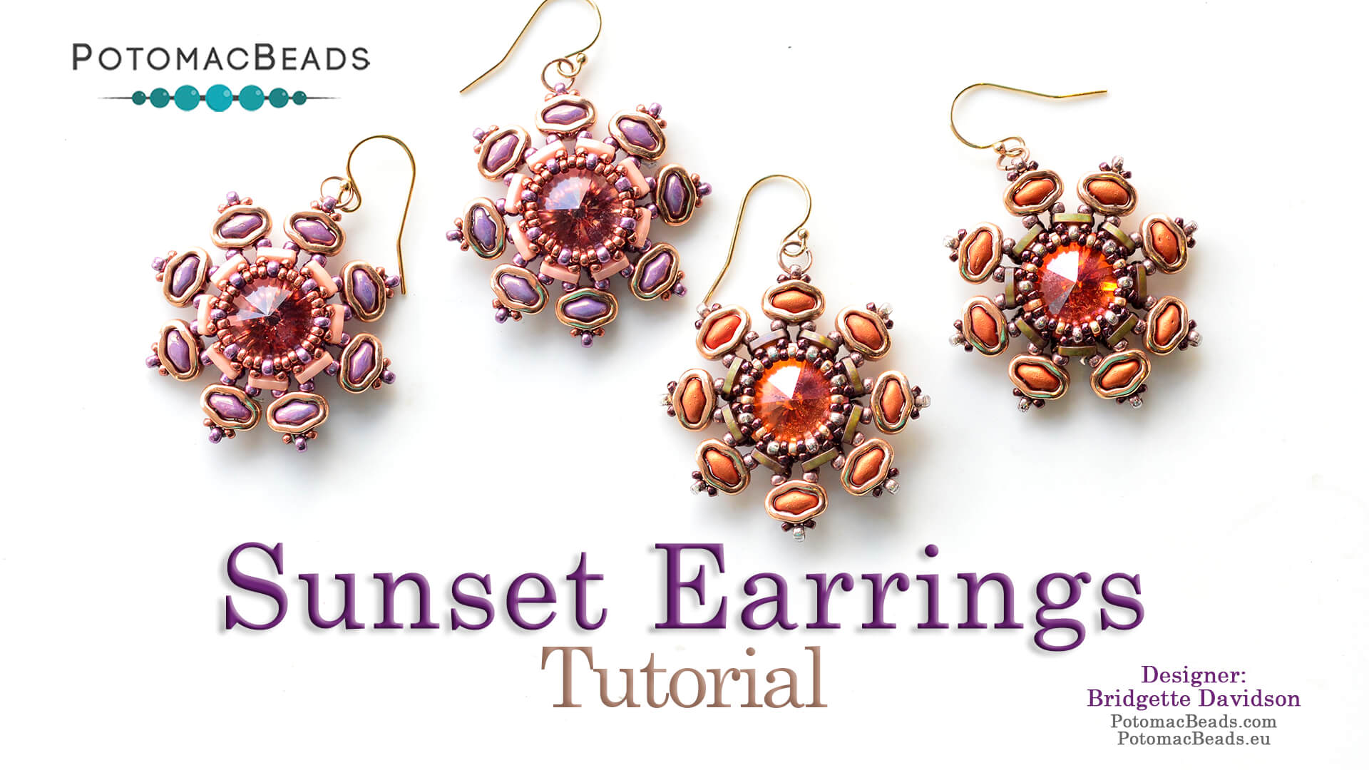 How to Bead Jewelry / Videos Sorted by Beads / RounDuo® & RounDuo® Mini Bead Videos / Sunset Earrings or Component Tutorial
