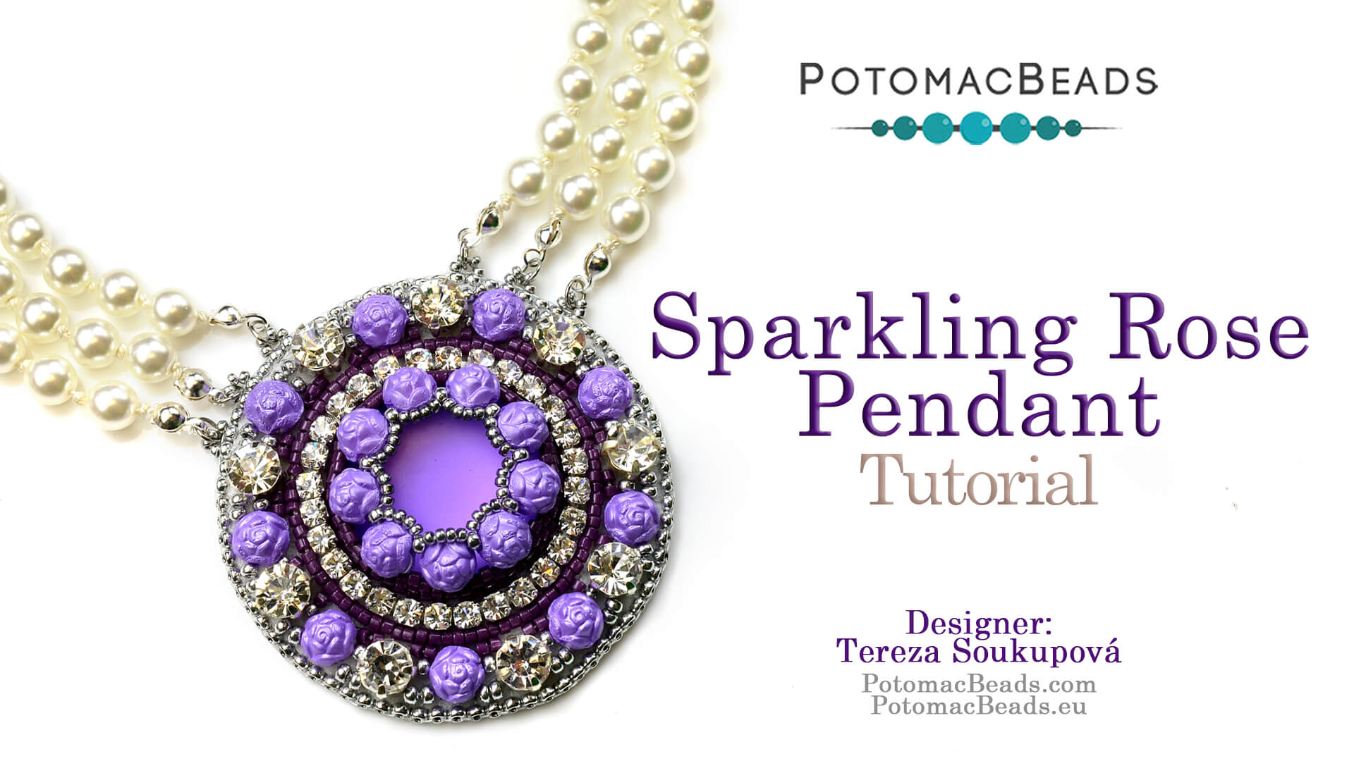 How to Bead Jewelry / Videos Sorted by Beads / Pearl Videos (Czech, Freshwater, Potomac Pearls) / Sparkling Rose Pendant Tutorial