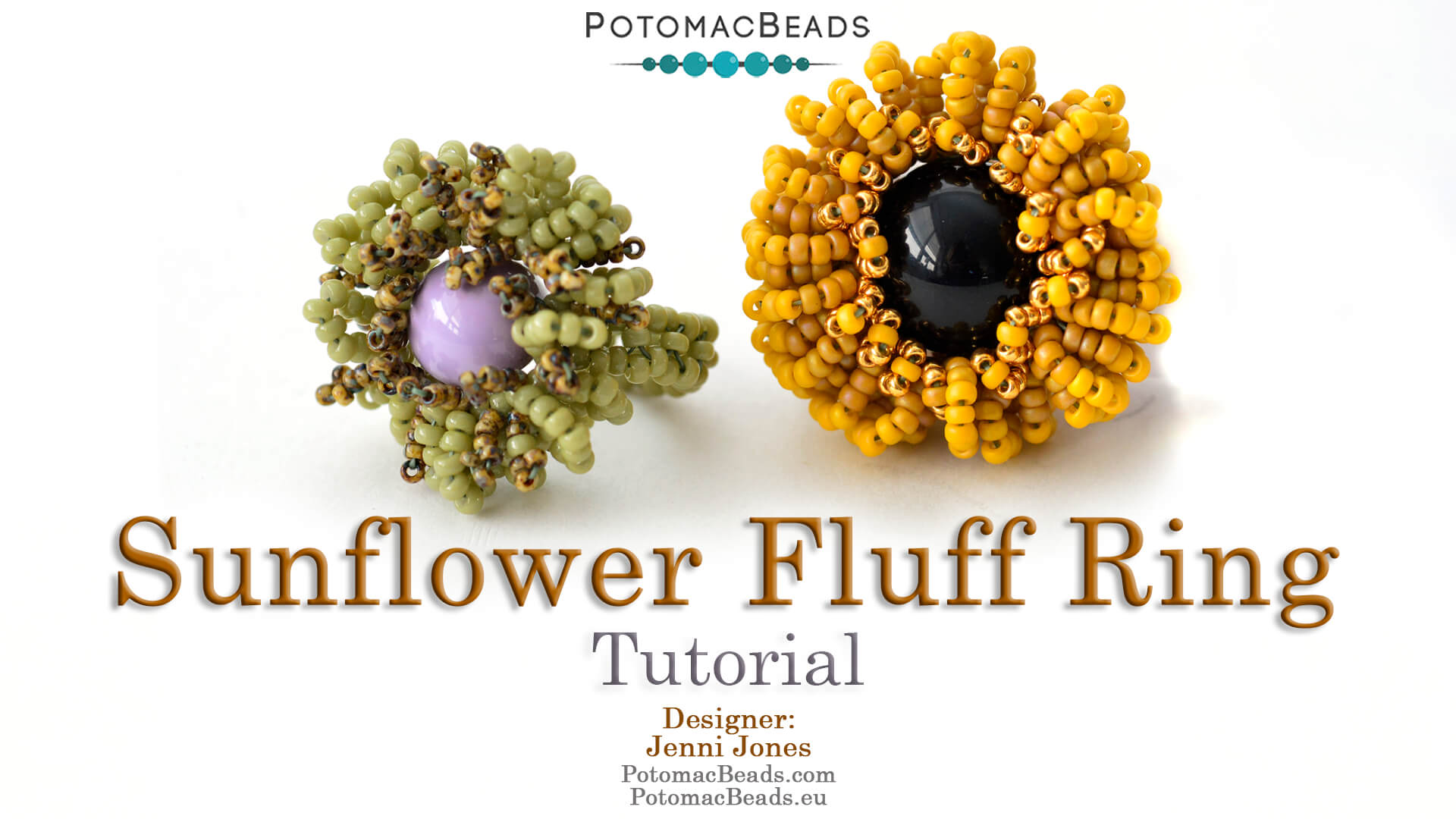 How to Bead / Free Video Tutorials / Right Angle Weave (RAW) Videos / Sunflower Fluff Ring Tutorial