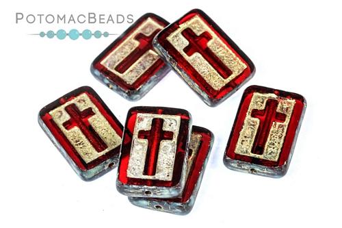 Czech Pressed Glass Beads / 1-Hole Beads / Cross Beads