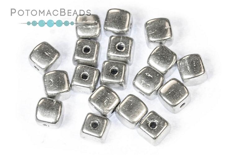 Czech Pressed Glass Beads / 1-Hole Beads / Cube Beads