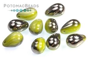 Czech Pressed Glass Beads / 1-Hole Beads / Drops