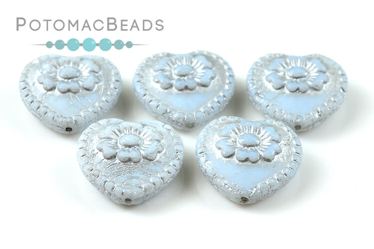 Czech Pressed Glass Beads / 1-Hole Beads / Folklore Hearts