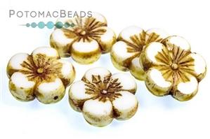 Czech Pressed Glass Beads / 1-Hole Beads / Hawaiian & Hibiscus Flowers