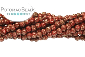 Czech Glass / 1-Hole Beads / Melon Ridged Round Beads 3-8mm