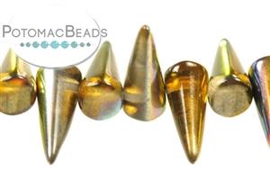 Czech Pressed Glass Beads / 1-Hole Beads / Spikes