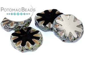 Czech Pressed Glass Beads / 1-Hole Beads / Table Cut Flower Coin