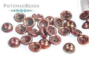 Czech Pressed Glass Beads / 1-Hole Beads / Teacup Beads