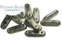 2-Hole Bar Beads 15mm - Jet Picasso