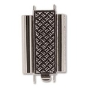 Beadslide Clasp Cross Hatch Antique Silver 10x18mm