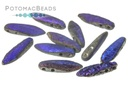 2-Hole Dagger Beads - Jet Etched Azuro Full 5x16mm
