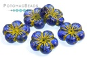 Hibiscus Flowers - Sapphire Blue Gold Wash 22mm