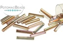 Czech Bugle Beads - Crystal Rainbow Copper 12mm