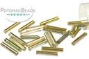 Czech Bugle Beads - Crystal Rainbow Gold 12mm