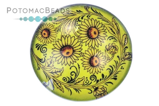 [13102] Glass Cabochon - Folk Art Yellow Daisy
