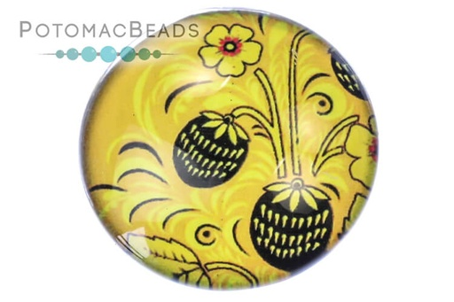 [13104] Glass Cabochon - Folk Art Yellow Berries