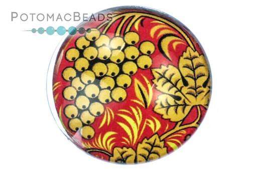 [13105] Glass Cabochon - Folk Art Golden Grapes