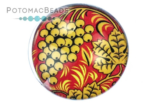 [13105] Glass Cabochon - Folk Art Golden Grapes