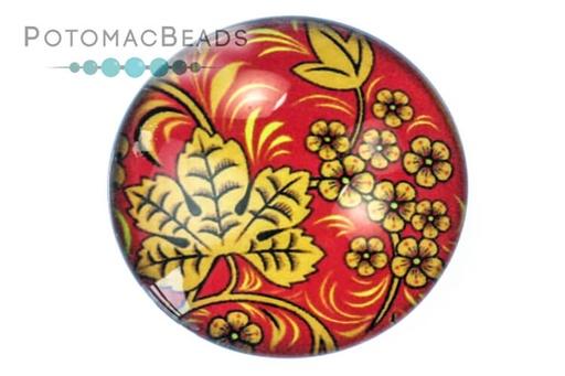 [13107] Glass Cabochon - Folk Art Grapeleaf