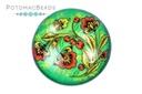 Glass Cabochon - Folk Art Red Poppy