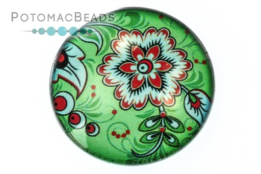 [13111] Glass Cabochon - Folk Art Blue Zinnia