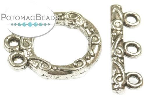 [91204] Pewter Toggle - 3 Strand Swirl Design Silver